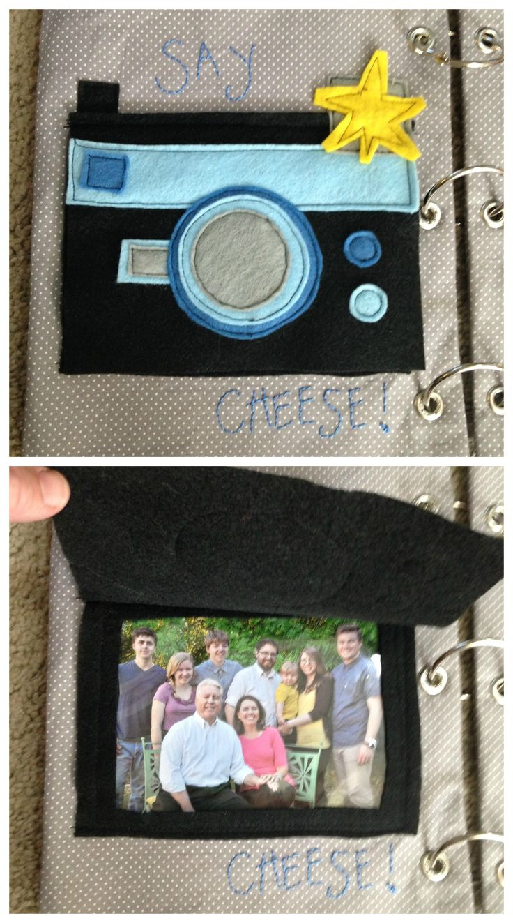 Quiet book - camera page - say cheese!