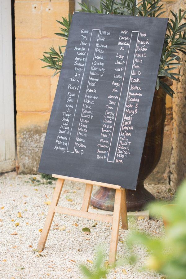 Destination Chateau Dordogne France Wedding Black Board Seating Plan http://www.mandjphotos.com/