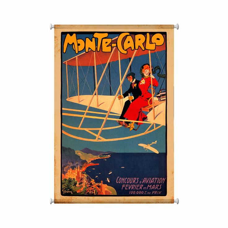 "Fantasize about flying over the coast of beautiful Monte Carlo (""Mount Charles""), along the French Riviera with this colorful vintage travel poster for aviation. Observe the cool breeze flowing through the lady's scarf as she holds on and loves the joy ride while the man steers and overlooks the casinos below. For any traveler, aviator, or France lover, dress up your walls with a touch of color with this great accessory."