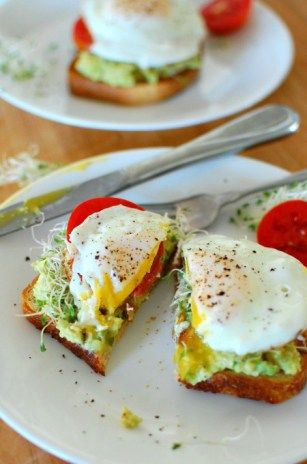 Avocado toast with fried egg! Breakfast is served. Yummy and totally satisfying. And it is so good with Mary Jo's alfalfa sprouts and a little sliced tomato. I could definitely have this 2 or 3 times a week for breakfast or even for lunch. I have been seeing this avocado toast ...