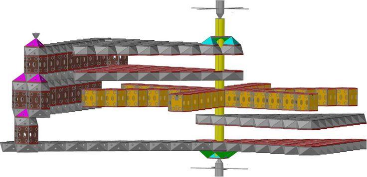 Konfiguracja  statku kosmicznego z zaznaczonymi modułami dziobowymi, rufowymi oraz burtowymi. Sekcję zabezpieczenia życia reprezentują moduły hotelowe. Sekcje rolne pominięto dla większej czytelności obrazu.