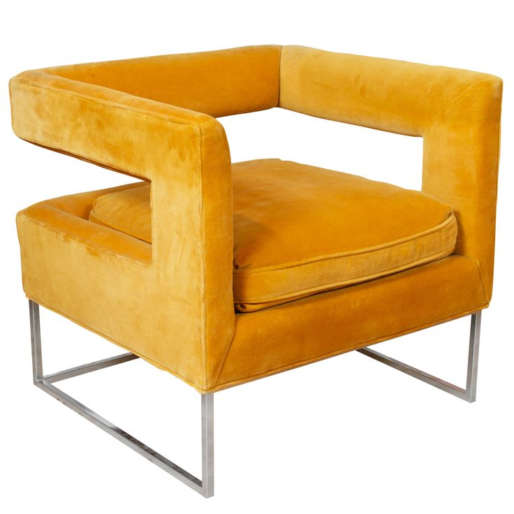 Milo Baughman - Cut Out Lounge Chair. A cubic chair by Milo Baughman, for Thayer Coggin. Original upholstery in a a delicate orange pastel, and thin metal base, ca. Late 1960's