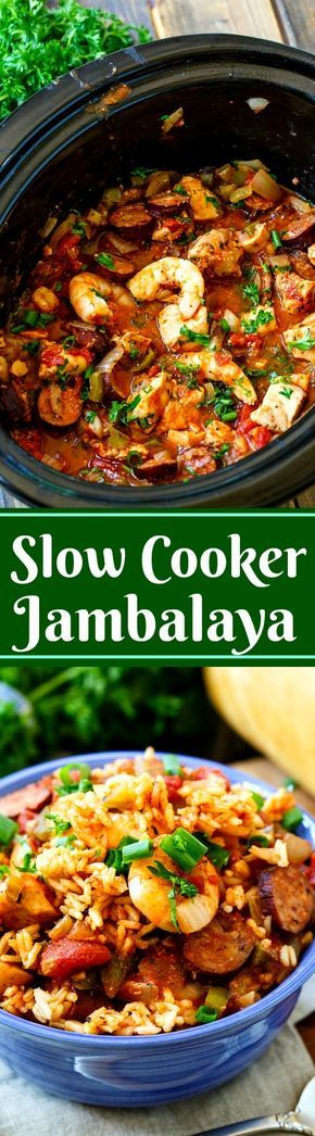 Slow Cooker Jambalaya with chicken, sausage, and shrimp.