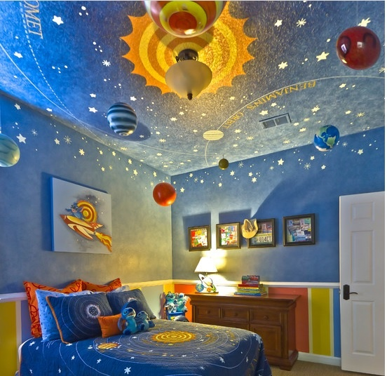 This intricate and detailed ceiling can fool anyone into think they are actually in outer space! Visit www.paintzen.com to fill out a form for a graphic paint job!