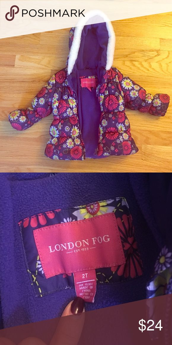 Bright & cozy purple puffer jacket❄️❤❄️❤ Super adorbs and very warm puffer jacket for any lil snow bunny 🐰! The colors pop and it makes your lil fashionista stand out 💎💎!Gently used but in great condition... lotsa life left in this one for sure! London Fog Jackets & Coats Puffers