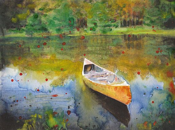 """Lake View And Boat Fine Art Watercolor Painting Fine Art Print Reproduction  """"Forgotten Memories"""" on Etsy, $17.04 AUD"""