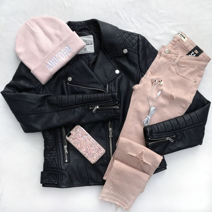 pink and black leather <3