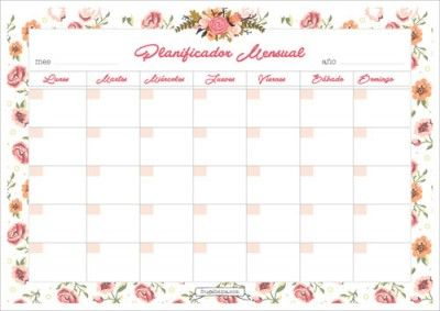 Planificador Mensual Imprimible
