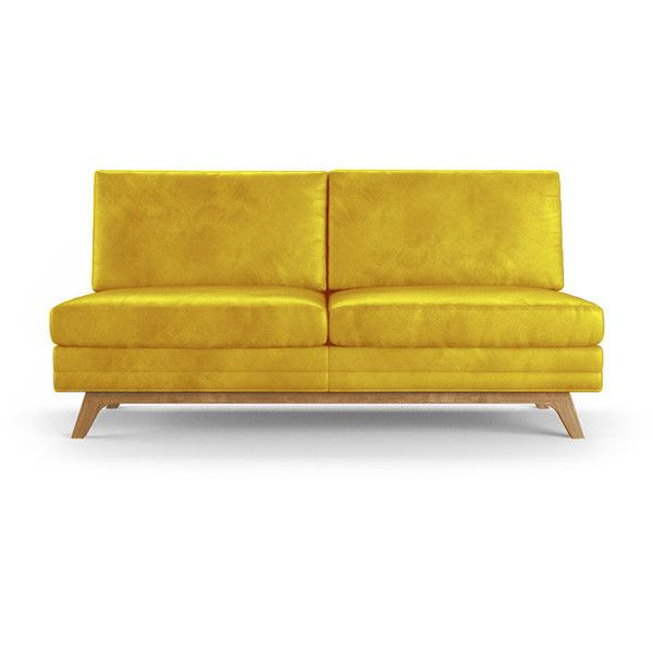 Calhoun Mid Century Modern Yellow Leather Armless Loveseat (4 680 AUD) ❤ liked on Polyvore featuring home, furniture, sofas, yellow, yellow furniture, yellow sofa, leather furniture, leather sofa and leather couch