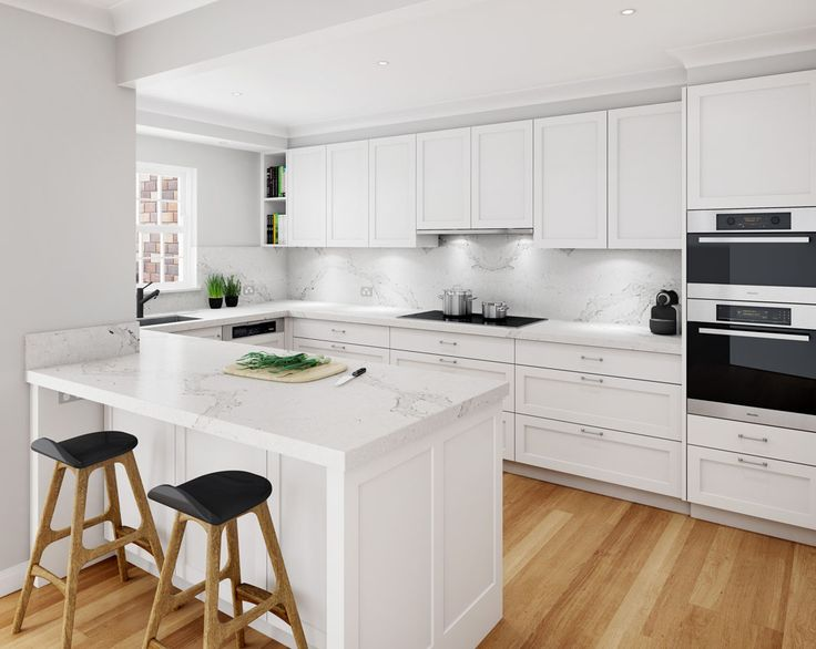 Concept design featuring Caesarstone's Calacatta Nuvo on the kitchen benchtop and splashback.