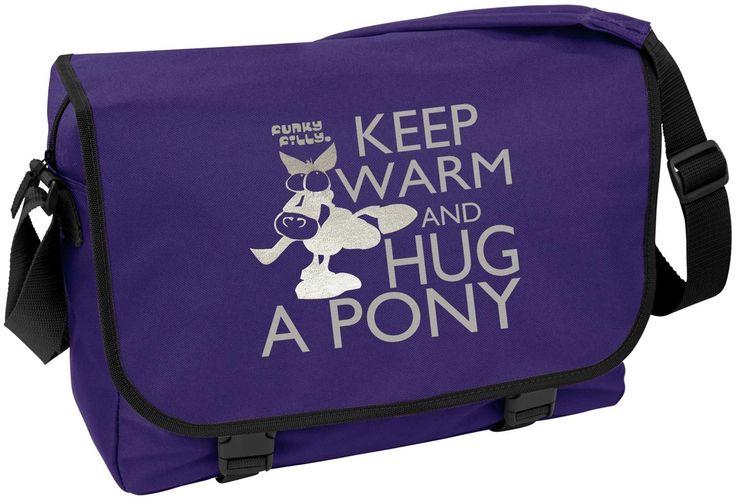 'Keep Warm and Hug A Pony' A4 School College Messenger Bag