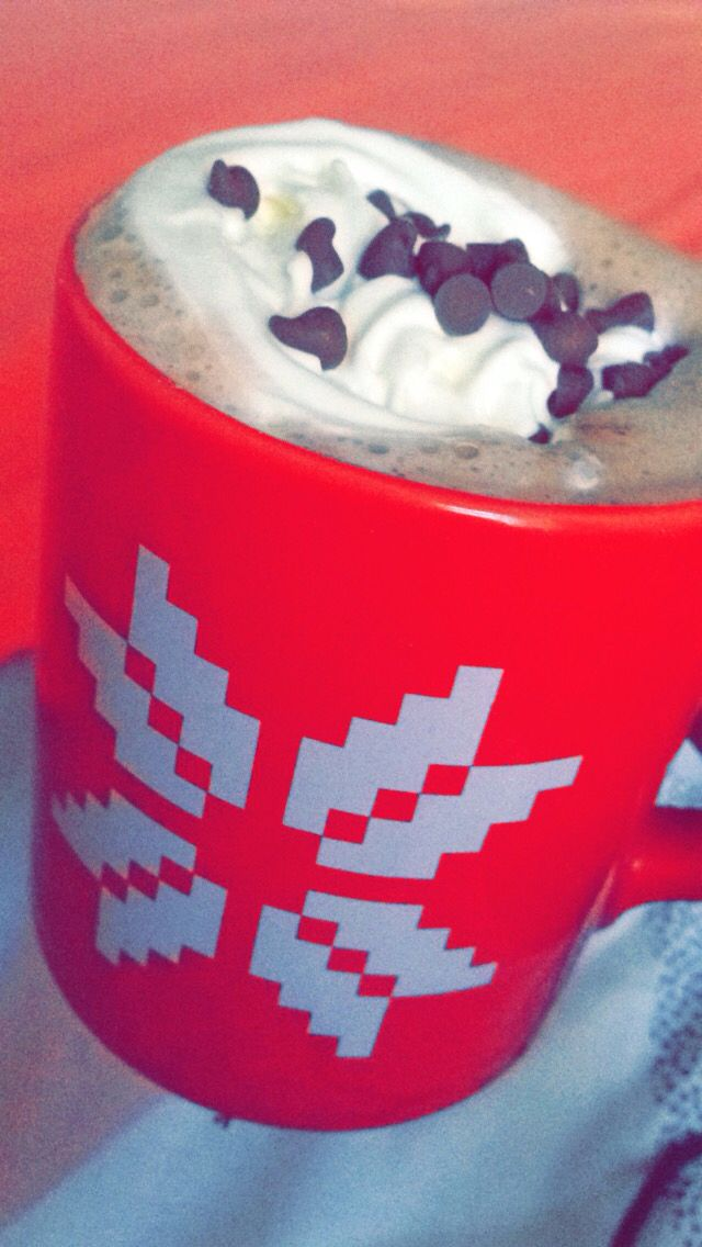 Best Hot chocolate recipe ☕️  1) take a packet of cadburys hot chocolate powder(I used the wispa one u can choose any Powder you want) and put into a mug I  2) add hot water as much as you want to fill your mug    3) take 3/4 squares of chocolate and drop them into the mug   4) next use squirty cream and squirt in a circular motion over the top of the mug so it makes a sorta ice cream swirl   5) now get some chocolate chips or grate some of the unused chocolate on the cream and enjoy