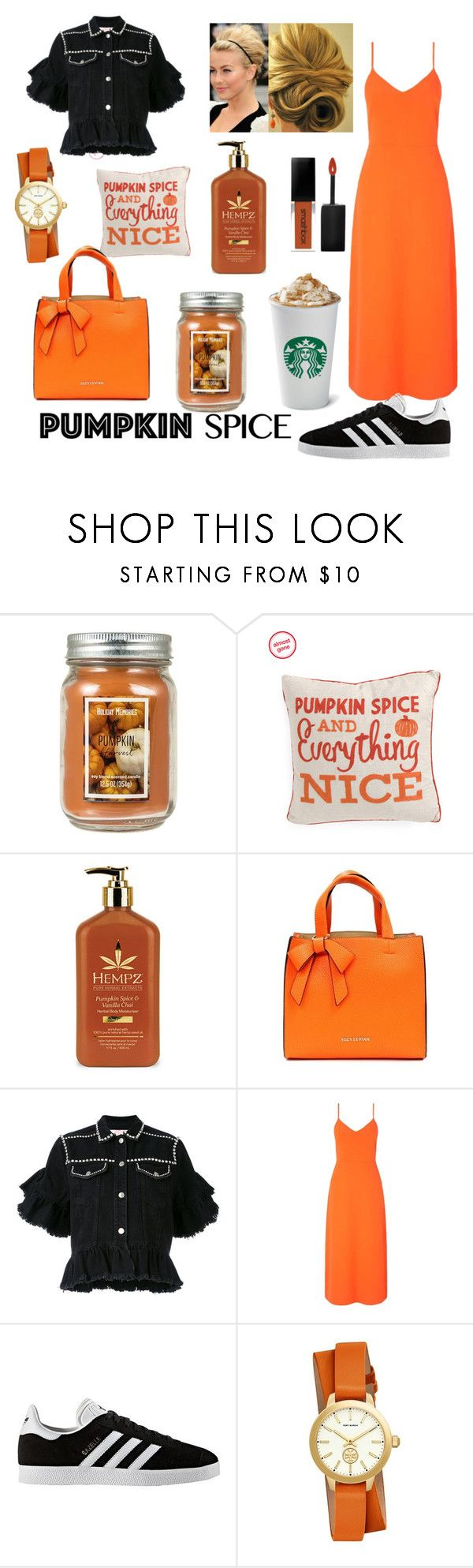 """pumpkin spice"" by ana-zigne ❤ liked on Polyvore featuring Holiday Memories, Suzy Levian, MSGM, Miss Selfridge, adidas and Tory Burch"