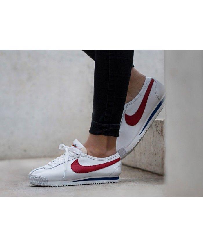 best website ee8b0 bc25e Nike Cortez Nylon Premium White Varsity Royal Varsity Red Trainers Outlet UK