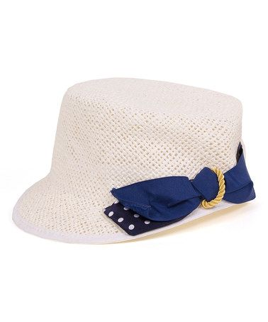 This White & Blue Bow Cadet Cap by Magid is perfect! #zulilyfinds