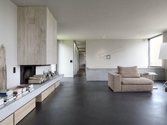open plan cement fireplace