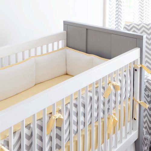 Gray and Yellow Zig Zag Crib Bumper | Carousel Designs