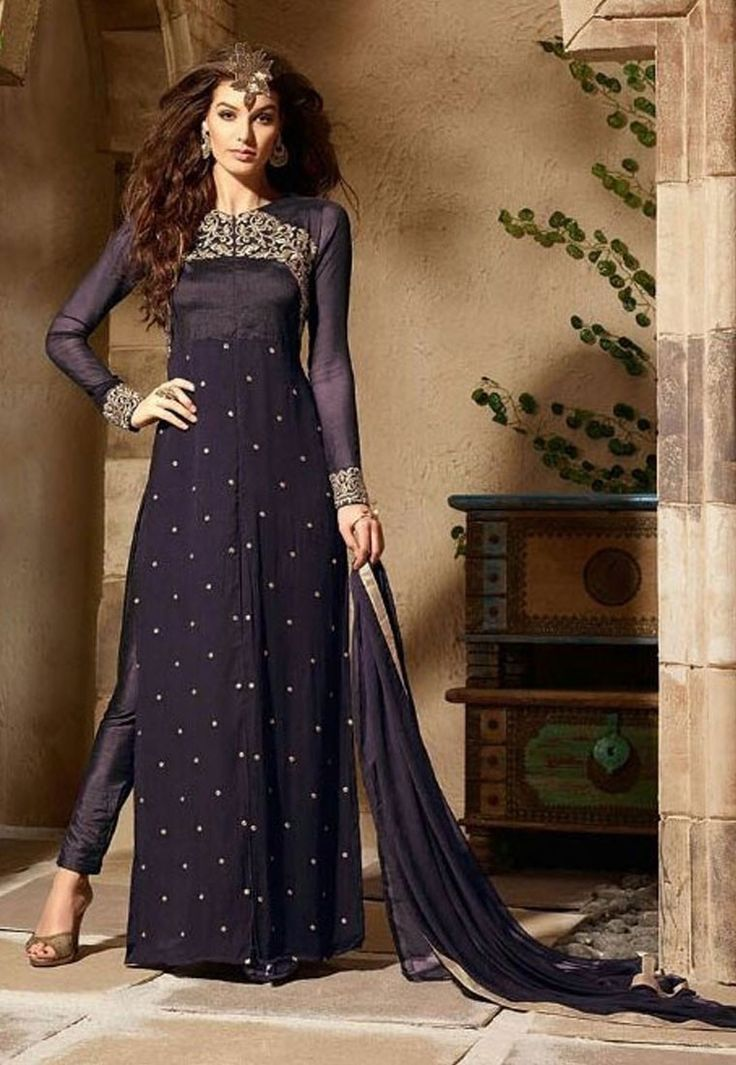 """""""Over the years I have learned that what is important in a #dress is the #woman who is wearing it.""""  Shop Royal Blue Color Georgette #Designer #Anarkali #Salwar #Kameez"""