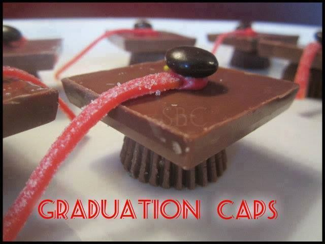 Graduation Caps  www.khenry.SBC90.com  Ingredients: Reese's Peanut Butter cups (mini) Ghiradelli Chocolate Squares ( I used two bags total of 18) Icing in coordinated color of your choice Air Heads sour candies (you can use licorice also) for tassel. M&M candies  Directions: Remove wrappers of chocolates Place a small dot of icing in center, on the side of chocolate that has design. Place Reese's cup on top of icing and let dry when dry...turn them over and apply a small dot of icing and ...