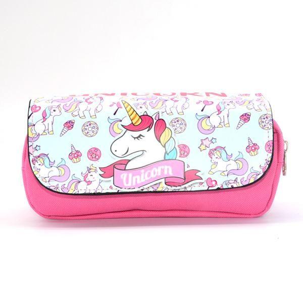 Pink Cute Unicorn Pencil Case Canvas