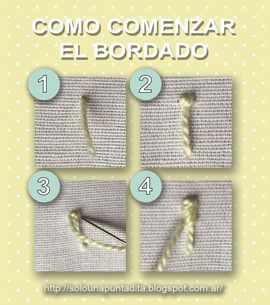 Sólo una puntadita...: Cómo sujetar el hilo de bordado sin hacer nudos