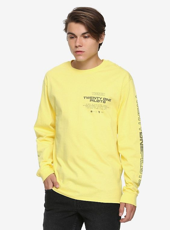 026480d1c Twenty One Pilots Repeat Logo Long-Sleeve T-Shirt Hot Topic Exclusive,  YELLOW