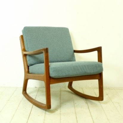 Ole Wanscher 1950s teak rocking chair made by France and Son Denmark with Abraham Moon teal upholstery