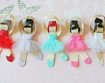 Ballerina sculpture ribbon hair clip / ballet hair clip / barrette / girl hair clip / baby hair clip - Personalize your own