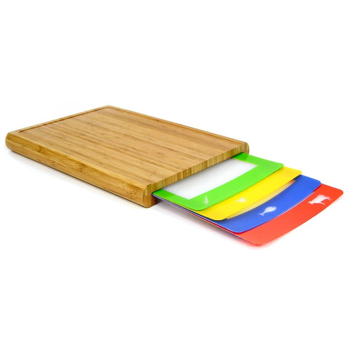 Chop N Prep Cutting Board Set - durablebamboo chopping block that conveniently stores four slim prep trays, each color-coded to prevent cross-contamination. Use the green for veggies, the red for meat, the blue for fish, and the yellow for poultry. Without no need to sterilize your mat each time you switch ingredients, you'll slice through prep work in record time.