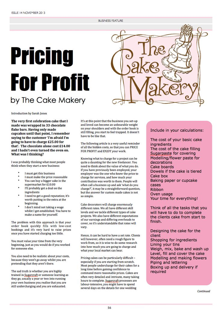 Cake Pricing for Profit