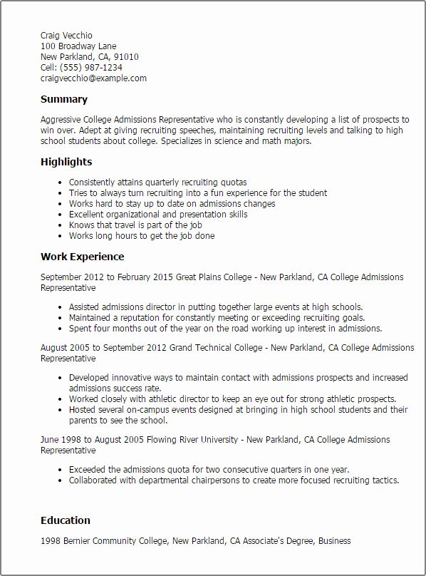 director of admissions resume fresh college admission