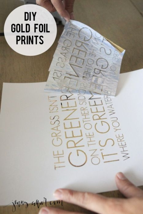 DIY gold foil prints using a laminator, flat gold foil sheets, and a laser-printed design on cardstock | jenny collier.