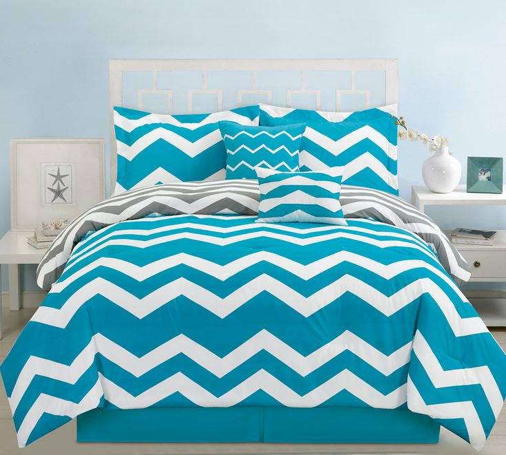 6 Piece King Chevron Teal Comforter Set