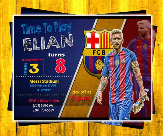 New Birthday Invitation Messi FC Barcelona PSD Layered