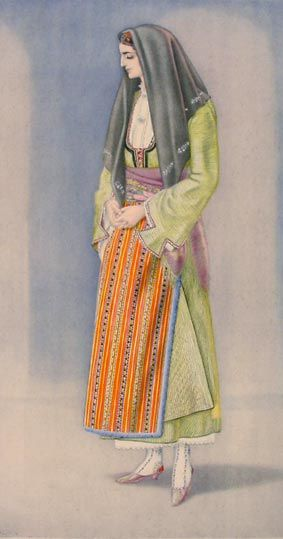 Rural woman's dress.  From Chalcidice (Greek Macedonia).  Clothing style: early 20th century.