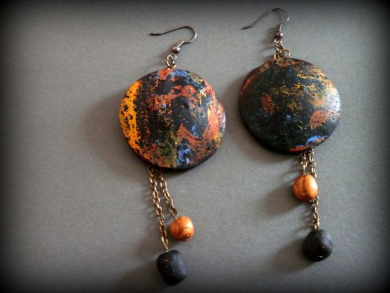 Black disc painted polymer clay earrings by Lijoux