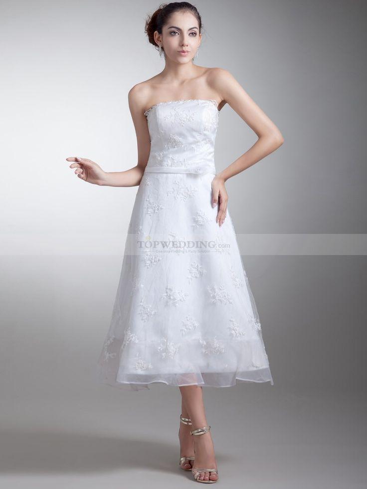 Cameron - Trägerloses Organza und Satin A-Linie Brautkleid mit Spitze und Schärpe
