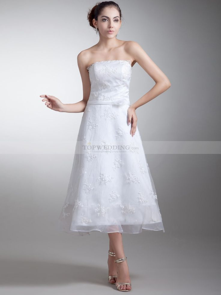 Strapless Organza over Satin A Line Wedding Dress with Lace and Sash