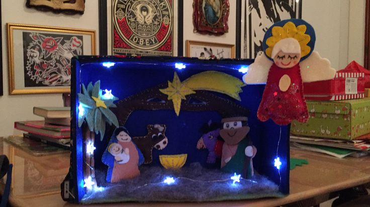 """Christmas felted decorations: box with nativity """"the holy night"""" ✨🌟✨"""
