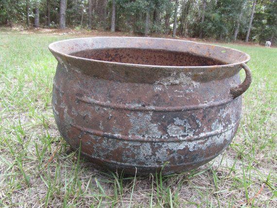 Antique Cast Iron Cauldron Wash Pot Footed Pot Vintage