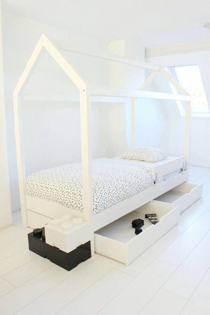 Manowoods Bedhuisje Alto Cajón 90x200cm (incl lattenboden + 2 lades) - DE GELE FLAMINGO - 1