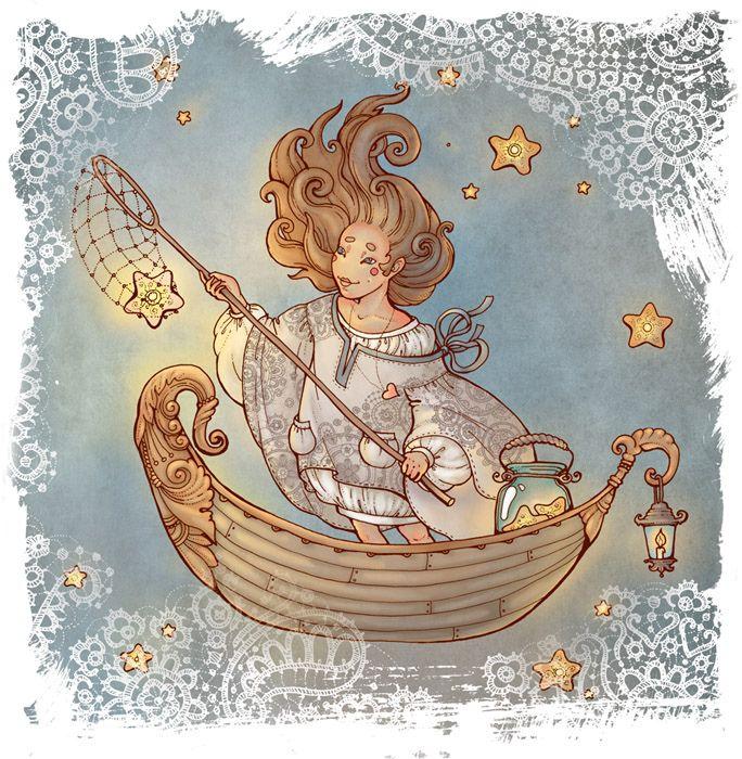 Апрель. Ловит сачком падающие звезды и после вешает обратно на небо.
