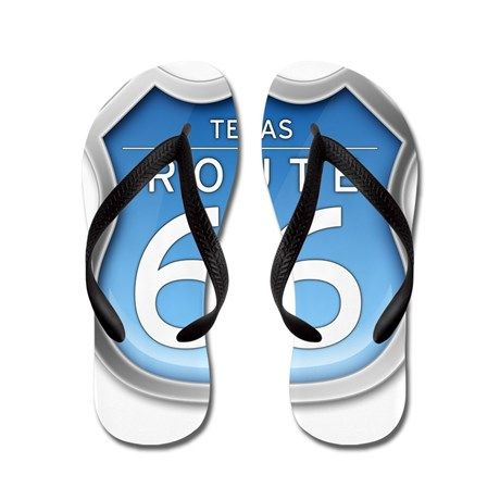 Texas Route 66 - Blue Flip Flops on CafePress.com