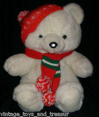 "18"" VINTAGE 1986 KMART CHRISTMAS TEDDY BEAR STUFFED ANIMAL PLUSH TOY SCARF HAT"