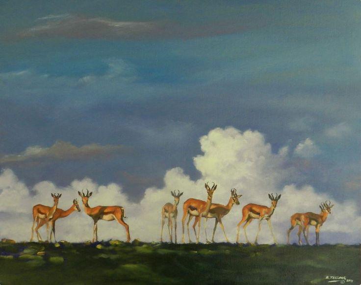 Springbok: Oil on Canvas by #artist Robert Teeling. #painting #fineart #ianart #artonfire #art http://internationalartnetwork.com/products/Springbok.html