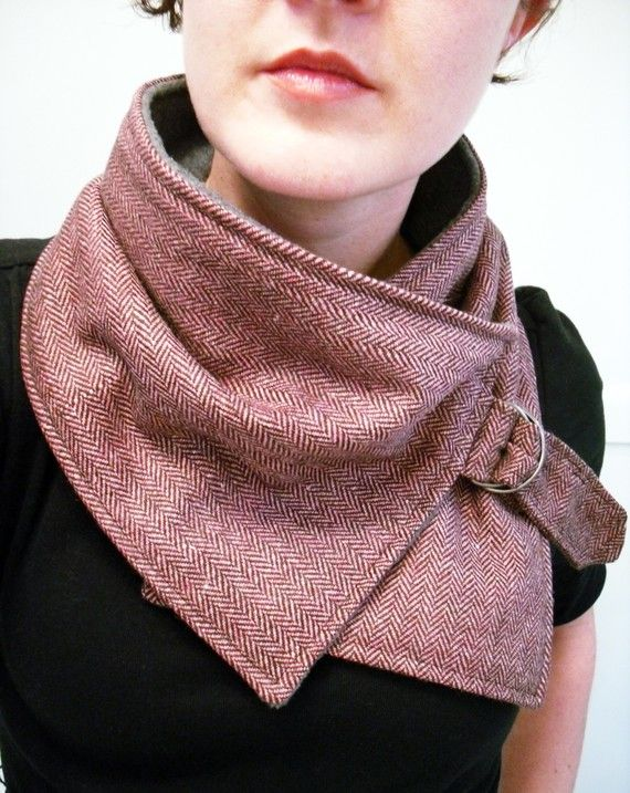 Neck Warmer Scarf in Pink and Brown Herringbone by FashionCogs