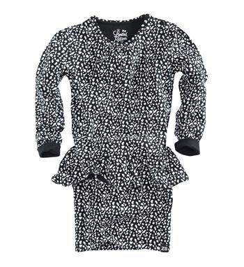 Z8 Limited Edition jurk model Selena, in een all over animaldessin. Deze peplum dress heeft lange mouwen - Zwart dessin - NummerZestien.eu