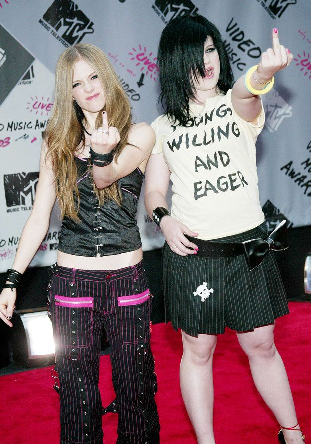 Avril Lavigne and a pre-Fashion Police Kelly Osbourne perfecting the faux-punk trend of the early '00s.