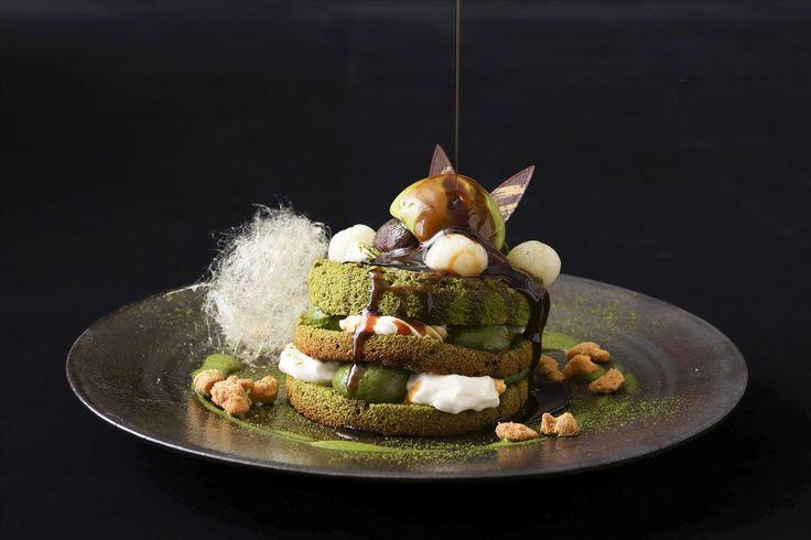 古都京都で三段重ねのパフェ風濃茶のパンケーキに舌鼓