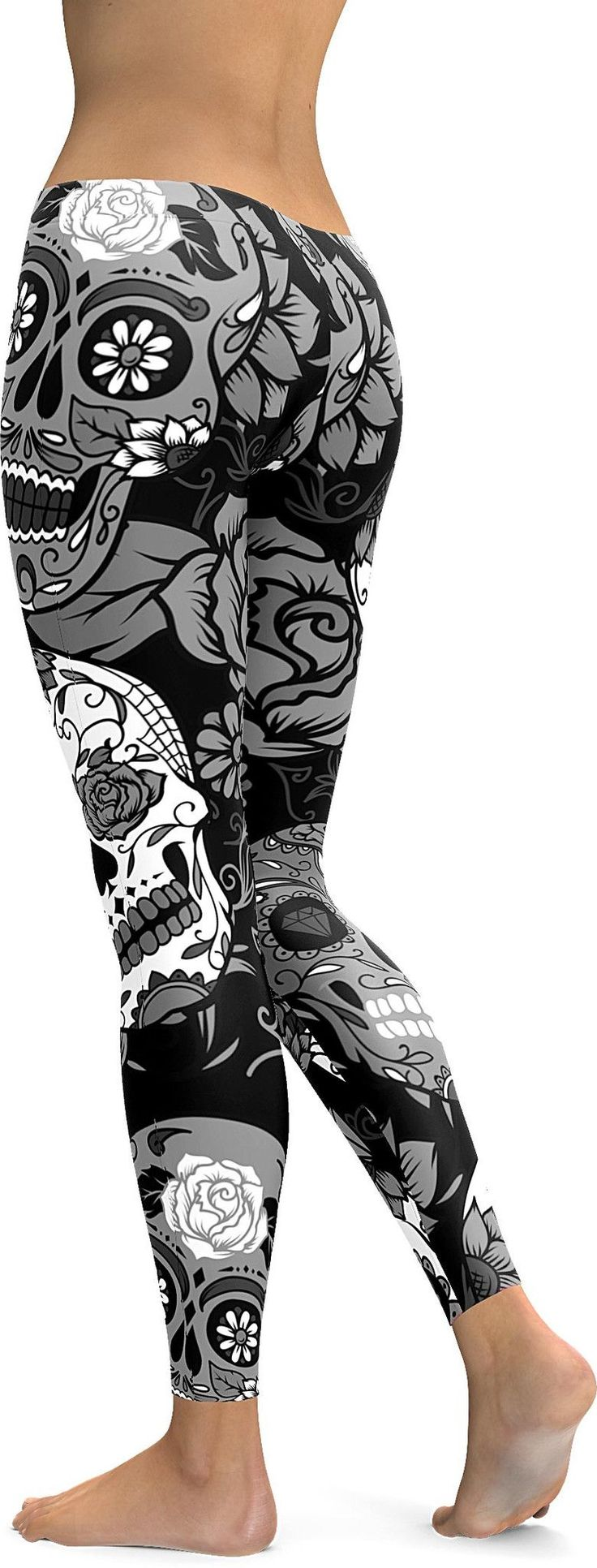 Black & White Sugar Skull Leggings - GearBunch Leggings / Yoga Pants